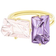Misui 18 Karat Yellow Gold Ring with 2.5 Carat Morganite and 2.5 Carat Amethyst