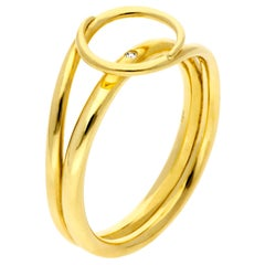 Misui Small Fluent Ring in 18 Karat Gold with a White Diamond