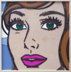 Forever After All, Pop Art, Birch Wood, Female, Figurative, Green Eyes, Brunette