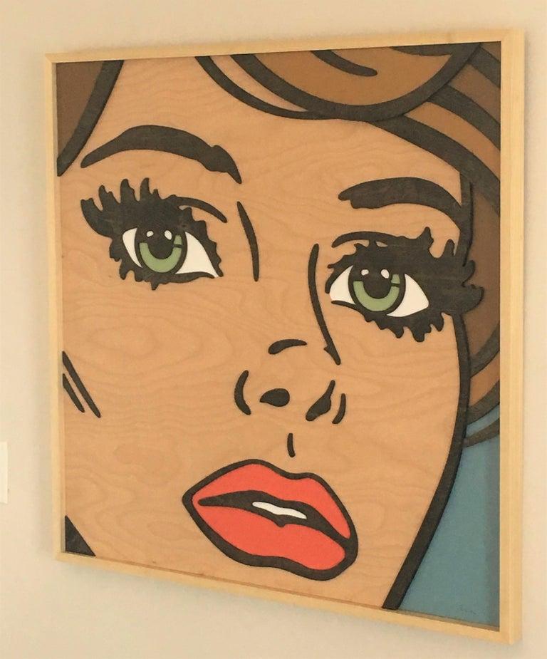 If We Never Met, Pop Art, Birch Wood, Dimension, Female, Figurative, Green Eyes For Sale 5