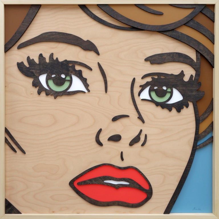 If We Never Met, Pop Art, Birch Wood, Dimension, Female, Figurative, Green Eyes - Mixed Media Art by Mitch McGee