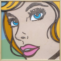 So Will I, Pop Art, Birch Wood, Dimensional, Female, Figurative Blonde Blue Eyes