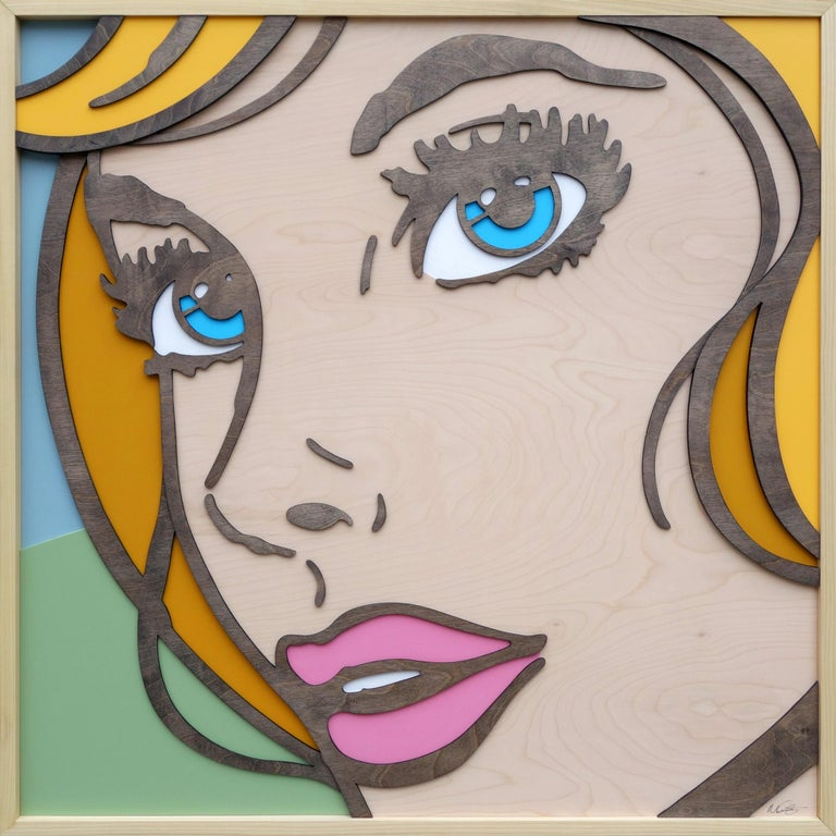 Mitch McGee Figurative Painting - So Will I, Pop Art, Birch Wood, Dimensional, Female, Figurative Blonde Blue Eyes