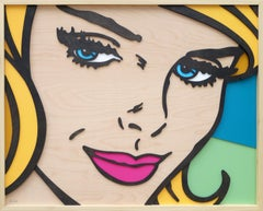 Told You So, Pop Art, Birch Wood, Female, Figurative, Blue Eyes, Blonde, Art