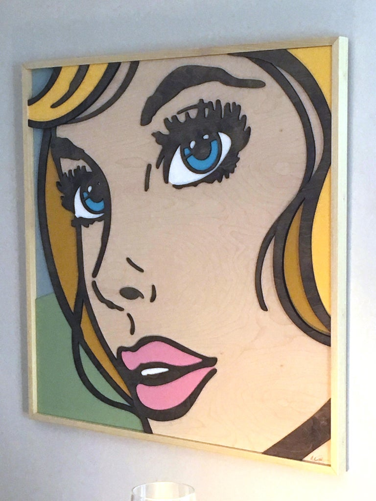 So Will I, Pop Art, Birch Wood, Dimensional, Female, Figurative Blonde Blue Eyes - Painting by Mitch McGee