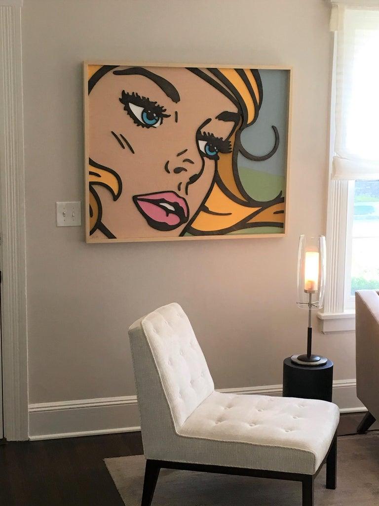 Wish You Were, Pop Art, Birch Wood, Dimensional, Female, Figurative, Blonde  For Sale 1