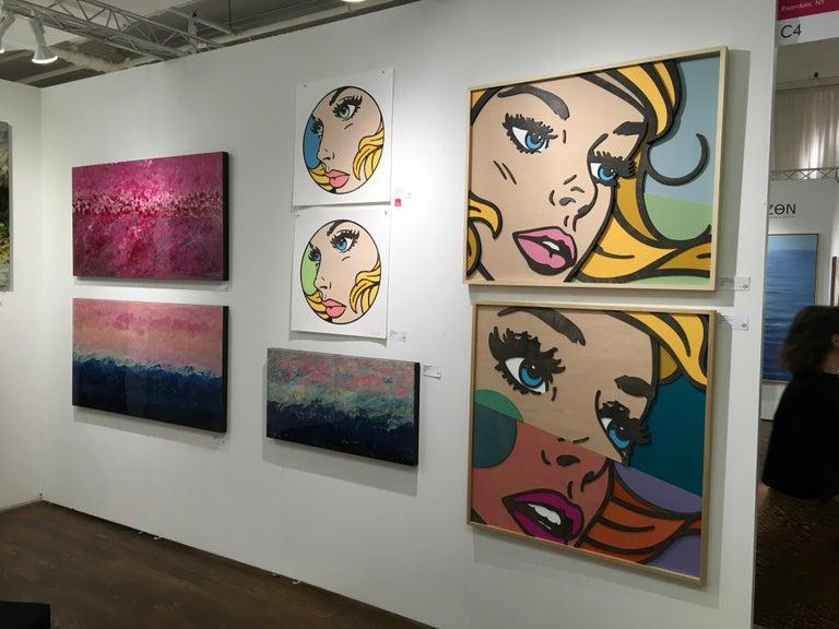 Wish You Were, Pop Art, Birch Wood, Dimensional, Female, Figurative, Blonde  For Sale 4