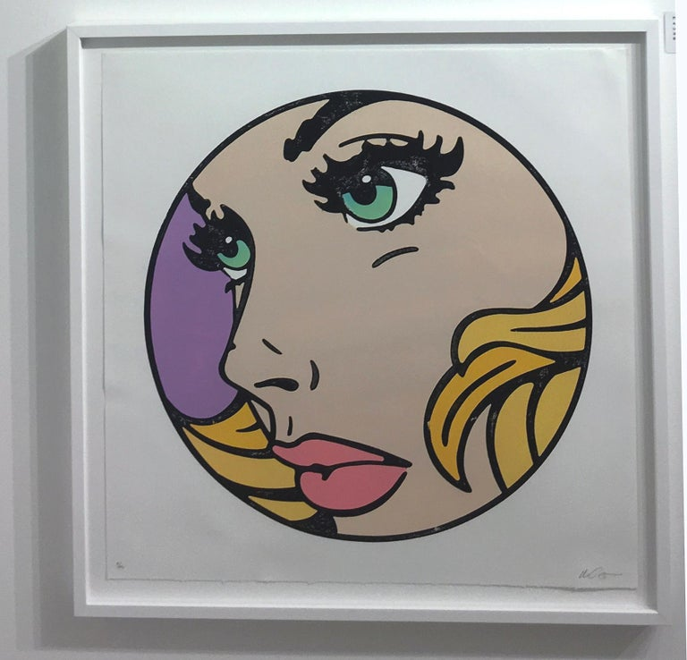 All That I Can - Green, Woodcut, Pop Art, Blue Eyes, Figurative, Framed, Female For Sale 5