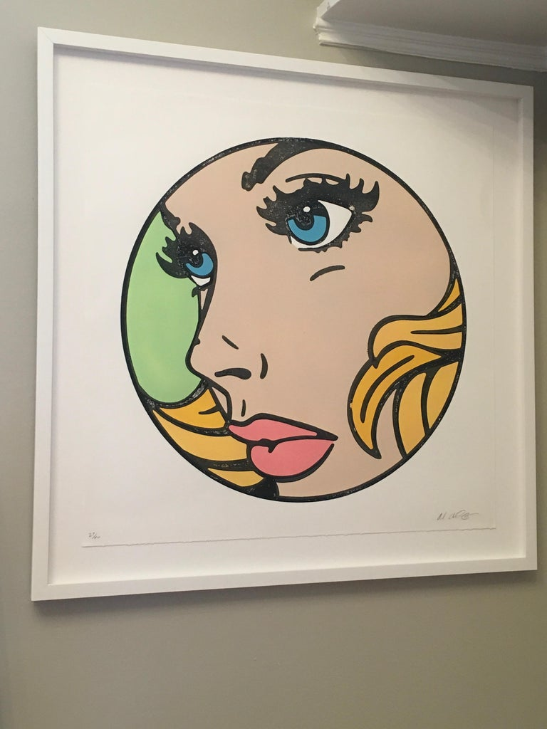 All That I Can - Green, Woodcut, Pop Art, Blue Eyes, Figurative, Framed, Female - Print by Mitch McGee