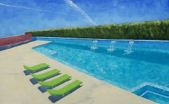 Four Green Chaise, Oil Painting