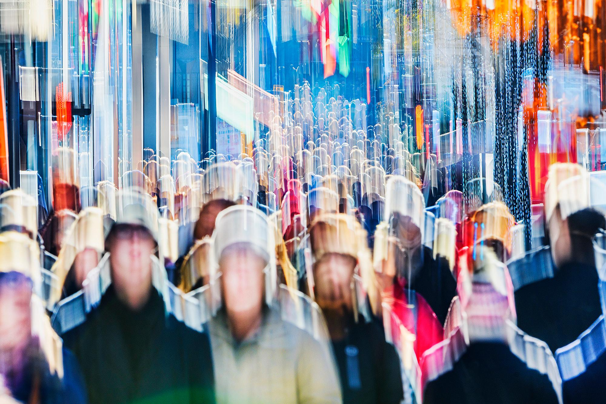 Abstract View Of Crowds On Fifth Avenue, New York City