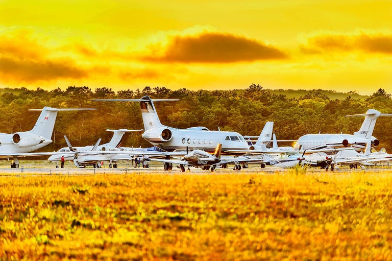 Mitchell Funk Landscape Photograph - Airplanes Yellow Sky