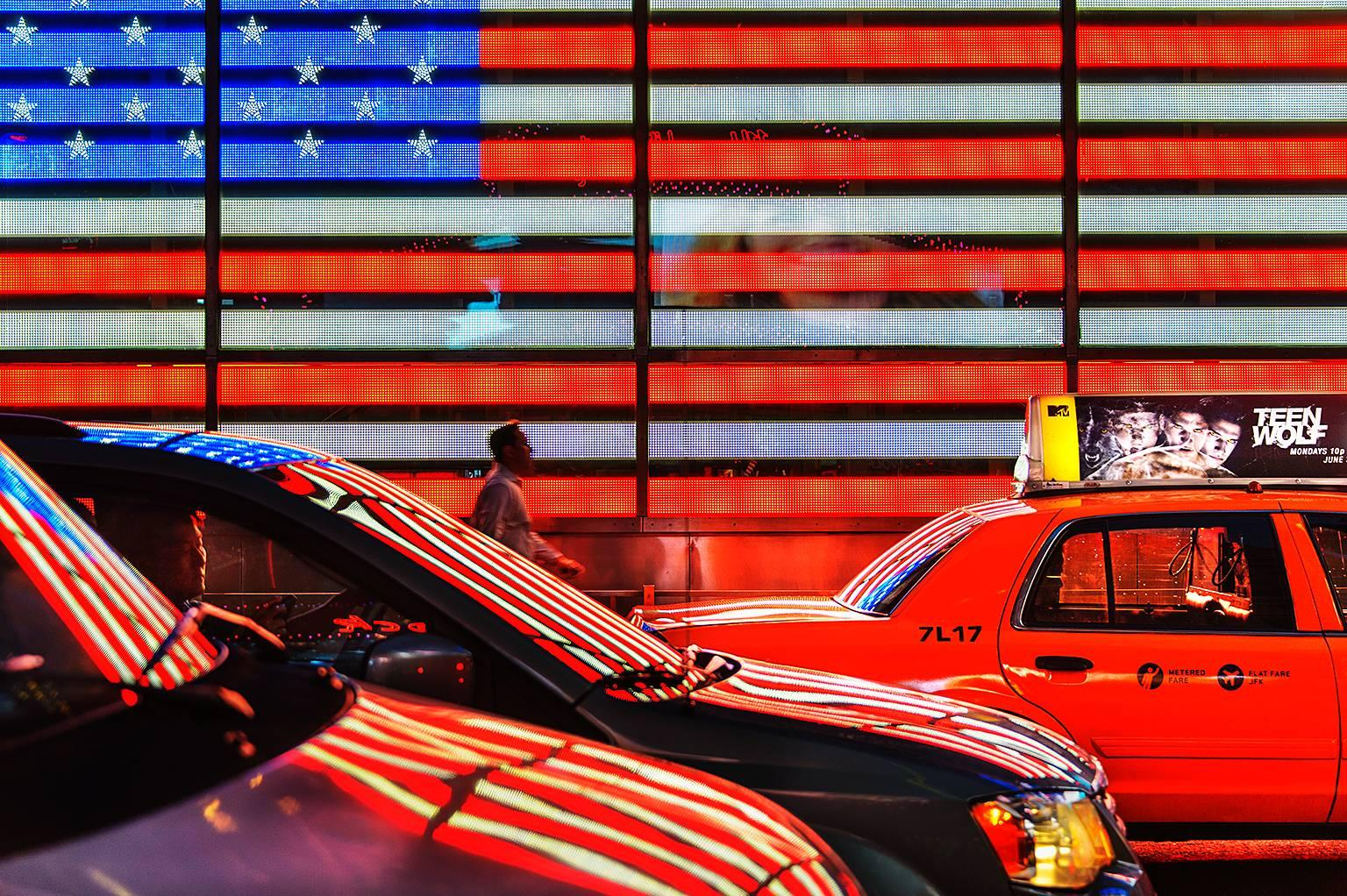 American Flag in Neon Reflections of Red White and Blue