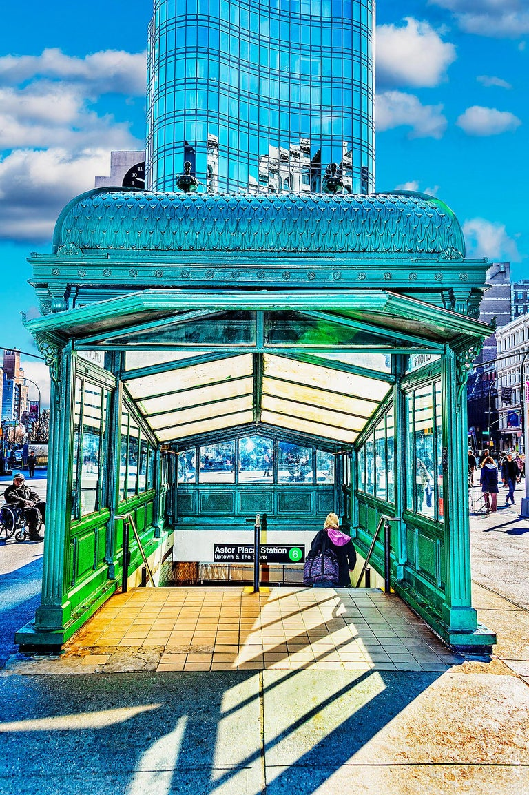 Mitchell Funk Color Photograph - Astor Place Subway Kiosk, Cooper Union Station