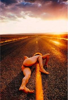 Athletic  Male Nude on Endless Surreal  Arizona Road