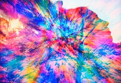 Beautiful Woman in Profile Kaleidoscope Colors