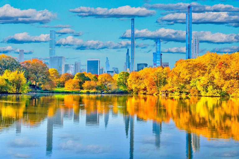 Mitchell Funk Color Photograph - Billionaires' Row Manhattan from Central Park in Autumn colors  Heaven and Earth
