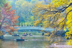 Bow bridge central park new york city in Spring