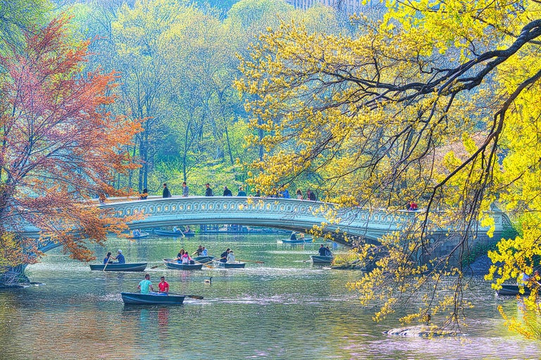 Mitchell Funk Landscape Photograph - Bow bridge central park new york city in Spring