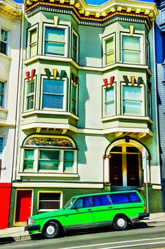 Bright Green Car In Front Victorian House, San Francisco