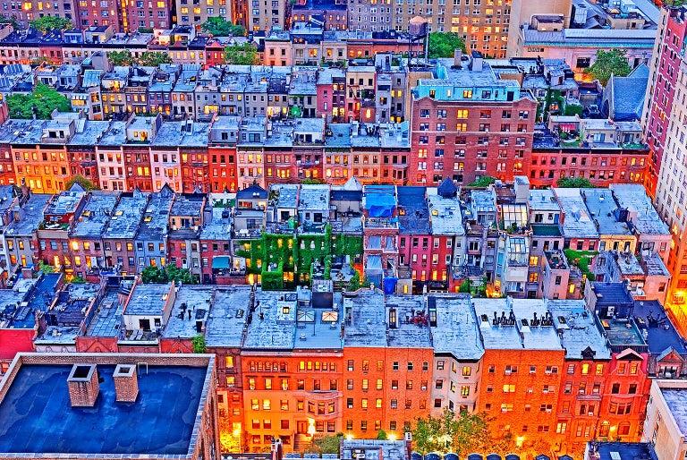 Mitchell Funk Landscape Photograph - Brownstones,  Upper West Side Neighborhood Manhattan