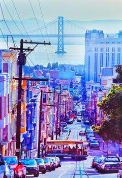 Cable Car Passing Through Russian Hill Neighborhood, San Francisco