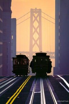 Cable Cars in Front of Bay Bridge at Dawn San Francisco