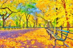 Central Park Mall with Yellow Autumn Leaves Elm Trees Post-Impressionist