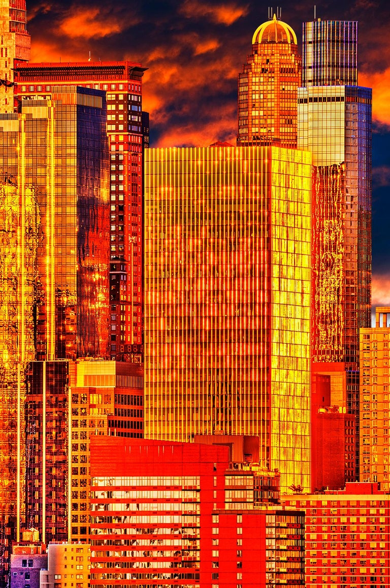 Mitchell Funk Landscape Photograph - City of Gold,  Mahattan skyline in a golden light
