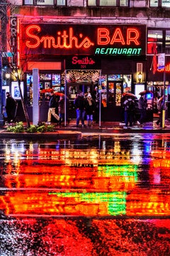 Color reflections on a rainy Neon New York Night