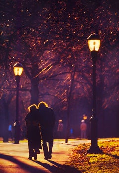 Couple Walking On Golden Path In Central Park