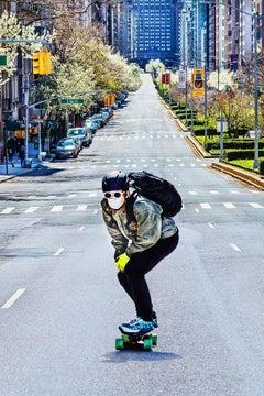 Covid-19 New York:Skateboarder on Empty Park Avenue