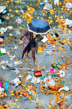 Elevated View Of Women With Umbrella Walking On Scattered Leaves