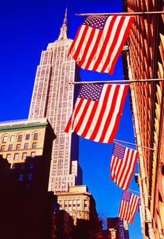 Empire State Building And American Flags, New York City