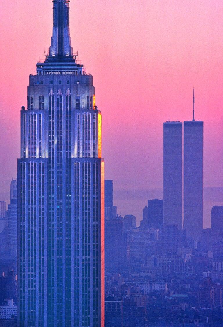 Mitchell Funk Landscape Photograph - Empire State Building Magenta Architecture Manhattan