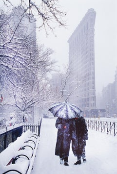 Flatiron Building Snow Storm Couple Umbrella in Monochromatic Blue and Gray