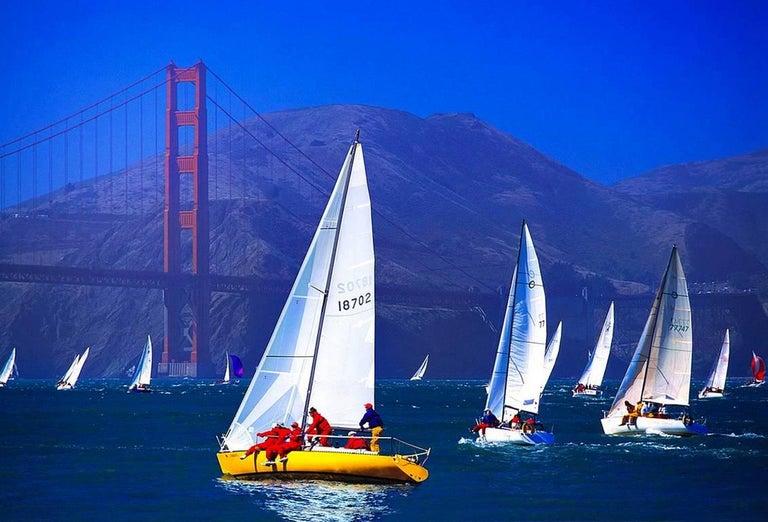 Mitchell Funk Landscape Photograph - Sailboat at Golden Gate Bridge  San Francisco
