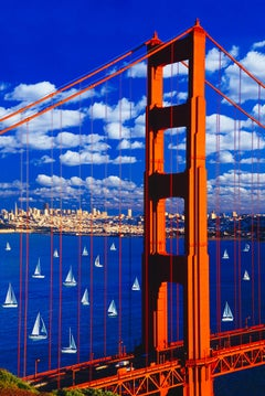 Golden Gate Bridge with Sailboats and Clouds