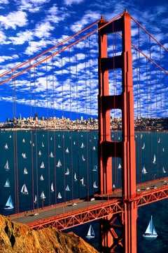 Golden Gate Bridge San Francisco Bay with Sailboats