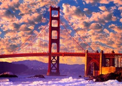 Golden Gate Bridge with Warm Puffy Clouds. San Francisco