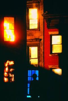 Golden Light In Windows On Old Brooklyn Building. New York City