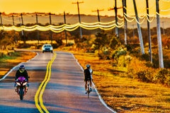 Golden Road with Motorcycle and Bicycle,