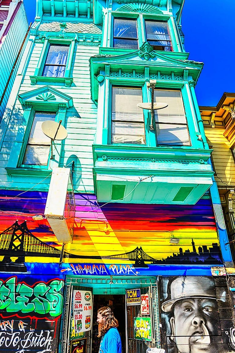 Mitchell Funk Abstract Photograph - Haight-Ashbury Architecture and Groovy Man