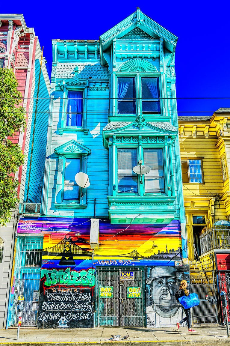 Mitchell Funk Color Photograph - Haight Ashbury Victorian  Architecture with Street Graffiti