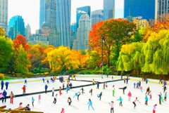 Ice Skaters in Central Park Rink  Panoramic view of the Skyline Autumn Colors