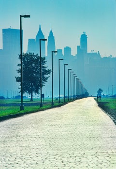 illuminated  Sunlit Road Going To New York City Skyline