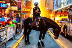 Laughing Policeman on Horse 42nd Street Times Square Golden Light