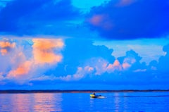 Lone Boat On Gardiners Bay At Sunset, East Hampton - Cerulean Blue Sky