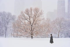 Man With Top Hat In Central Park During Snowstorm