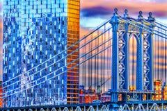 Manhattan Bridge from Brooklyn in Blue and Gold